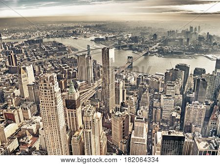Aerial view of the New York City with three bridges.
