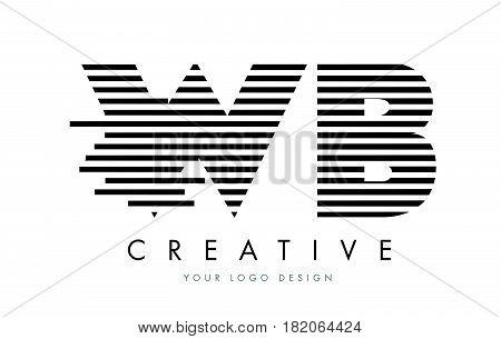 Wb W B Zebra Letter Logo Design With Black And White Stripes