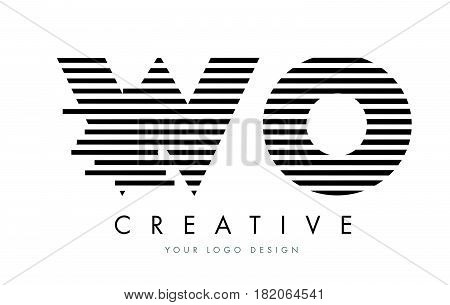 Wo W O Zebra Letter Logo Design With Black And White Stripes