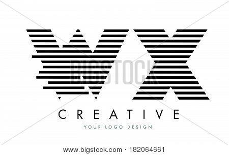 Wx W X Zebra Letter Logo Design With Black And White Stripes