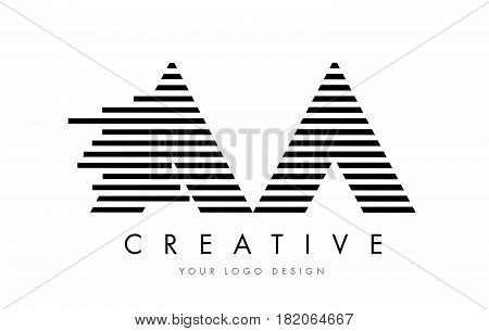 Aa A Zebra Letter Logo Design With Black And White Stripes