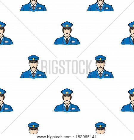 Museum security guard icon in cartoon style isolated on white background. Museum pattern vector illustration.