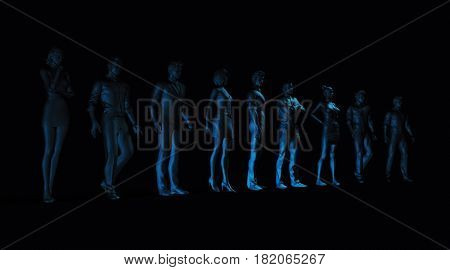 Determined Business People Standing Together in Solidarity 3D Illustration Render