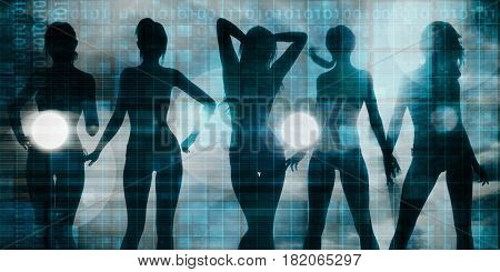 Ladies Going Clubbing in a Nightclub and Partying 3D Illustration Render