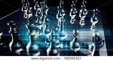 Strategic Marketing Concept with Chess Pieces on a Chessboard 3D Illustration Render