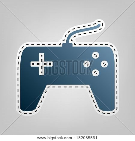 Joystick simple sign. Vector. Blue icon with outline for cutting out at gray background.