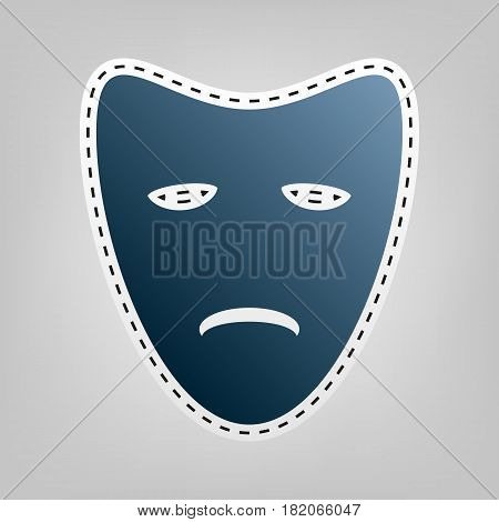 Tragedy theatrical masks. Vector. Blue icon with outline for cutting out at gray background.