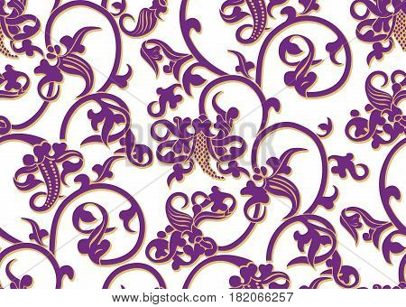 Seamless vector vintage pattern in purple and yellow ochre color on white background. Can be used for wallpapers backgrounds fabric wrapping paper.