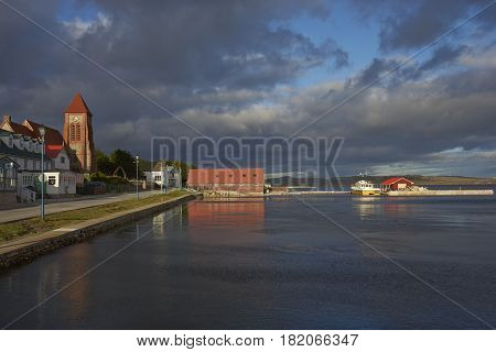 STANLEY, FALKLAND ISLANDS - JANUARY 14, 2017: Historic buildings along the waterfront of Stanley, capital of the Falkland Islands.