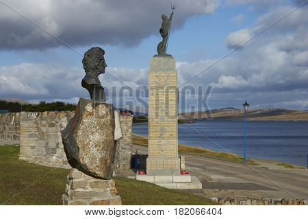 STANLEY, FALKLAND ISLANDS - JANUARY 14, 2017: Statue of Margaret Thatcher next to the Liberation Monument in Stanley, capital of the Falkland Islands.