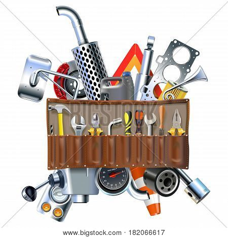 Vector Tool Kit with Car Spares isolated on white background