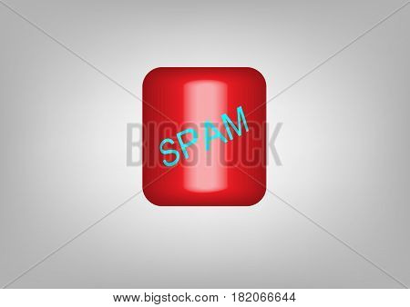Button web SPAM icon. spam red symbol. Vector illustration isolated
