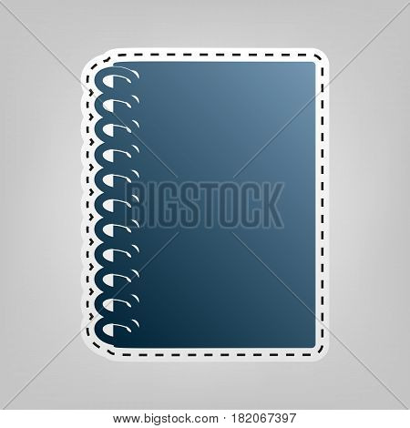 Notebook simple sign. Vector. Blue icon with outline for cutting out at gray background.