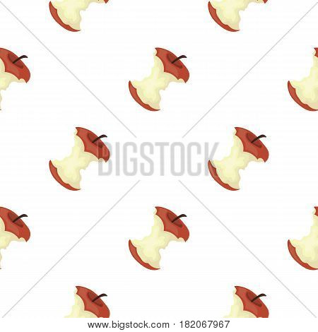Stub of apple icon in cartoon style isolated on white background. Trash and garbage pattern vector illustration.
