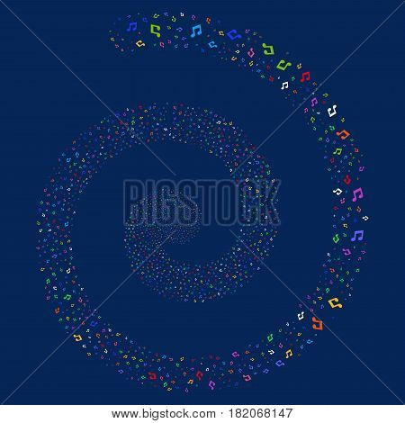 Music Notes bang whirl spiral. Vector bright multicolored random objects.