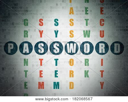 Safety concept: Painted blue word Password in solving Crossword Puzzle on Digital Data Paper background