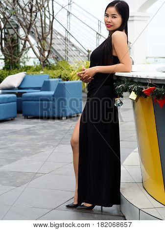 Beautiful Young Brunette Vietnam Girl Wearing Black Dress