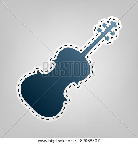 Violine sign illustration. Vector. Blue icon with outline for cutting out at gray background.