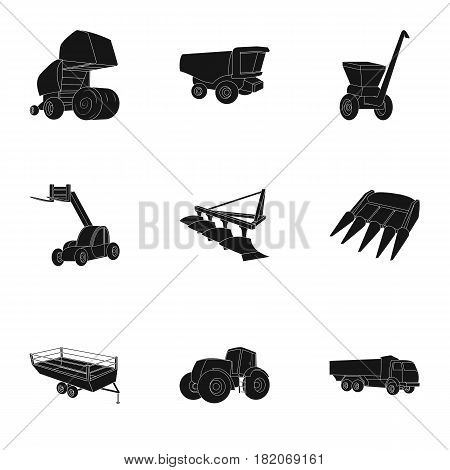 Set of pictures about agricultural machinery. Cars to robots to the ground.Agricultural Machinery icon in set collection on black style vector symbol stock web illustration.