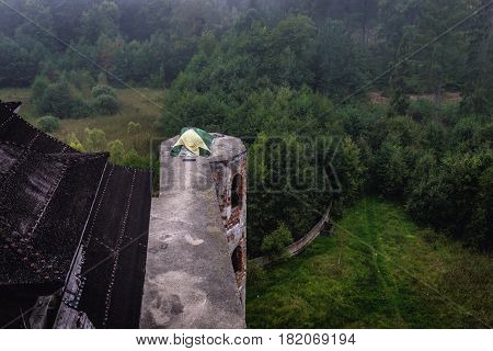 Tent on an unfinished abandoned castle in Lapalice Cassubia region of Poland poster