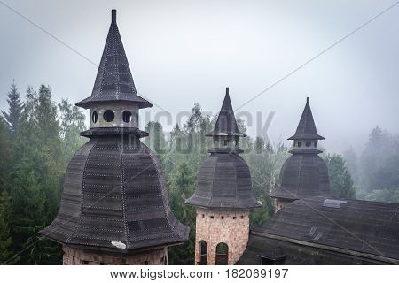Towers of abandoned castle in Lapalice Cassubia region of Poland