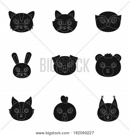 Wild and domestic animals. A set of pictures about animals.. Animal muzzle icon in set collection on black style vector symbol stock web illustration.