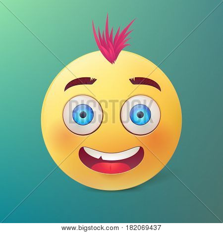 Vector yellow ball with happy smiling face and pink hair on green background .