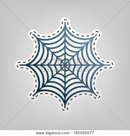 Spider on web illustration. Vector. Blue icon with outline for cutting out at gray background.