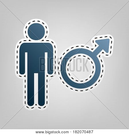 Male sign illustration. Vector. Blue icon with outline for cutting out at gray background.