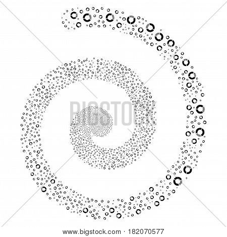 Pie Chart majestic whirl spiral. Vector black random design elements.