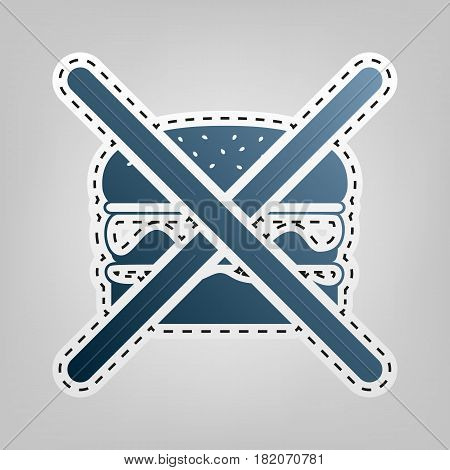 No burger sign. Vector. Blue icon with outline for cutting out at gray background.