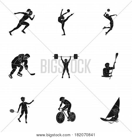 Olympic sports. Winter and summer sports. A set of pictures about athletes.Olympic sports icon in set collection on black style vector symbol stock web illustration.