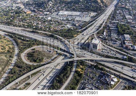Aerial view of Ventura 134 and Glendale 2 freeway interchange in the Eagle Rock neighborhood of Los Angeles, California.