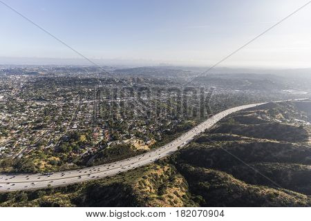 Aerial view of the Ventura 134 Freeway and Eagle Rock in Los Angeles California.