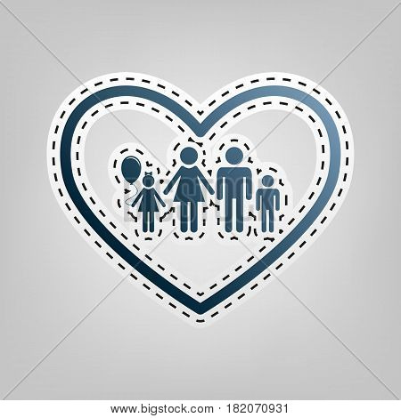Family sign illustration in heart shape. Vector. Blue icon with outline for cutting out at gray background.