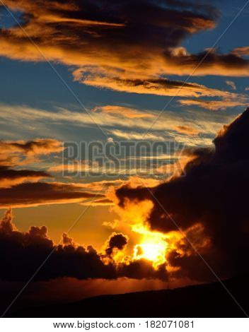Vibrant sunrise with cloudy sky of vivid colors