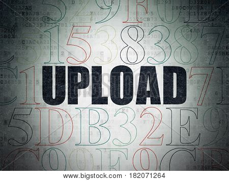Web development concept: Painted black text Upload on Digital Data Paper background with Hexadecimal Code