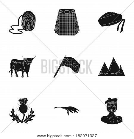 National symbols of Scotland. Scottish attractions. Scotland country icon in set collection on black style vector symbol stock web illustration.