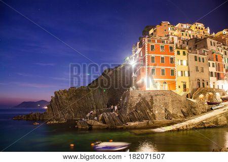 travel amazing Italy series - Riomaggiore Village at night, Cinque Terre