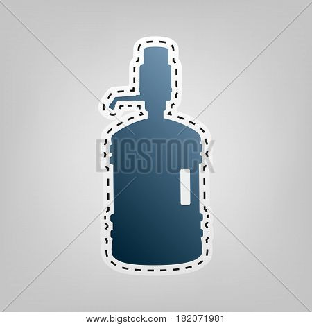 Plastic bottle silhouette with water and siphon. Vector. Blue icon with outline for cutting out at gray background.