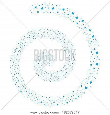 Sparcle Star fireworks vortex spiral. Vector blue scattered symbols.