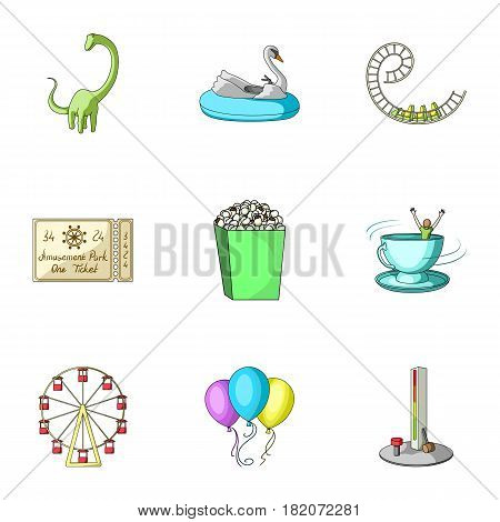 The amusement Park rides. The attributes of a recreational Park, panic room, cotton candy.Amusement Park icon in set collection on cartoon style vector symbol stock web illustration.