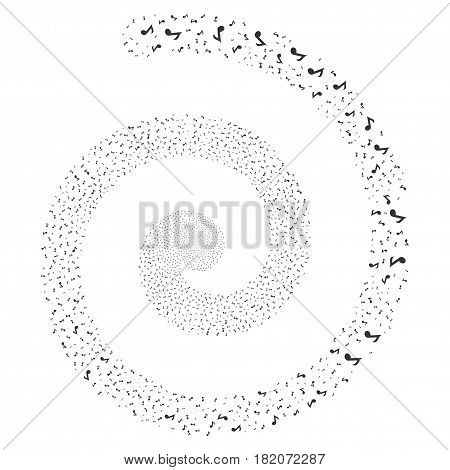 Musical Note salute portal spiral. Vector gray random pictographs.