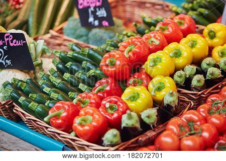 Fresh Organic Bell Peppers And Zuccinis On Farmers Market