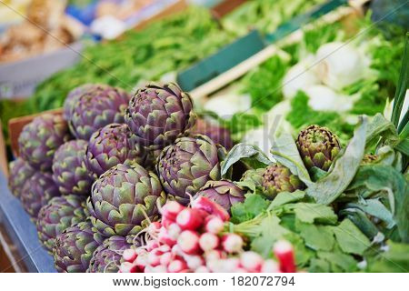Fresh Organic Artichokes On Farmers Market