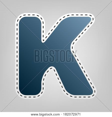 Letter K sign design template element. Vector. Blue icon with outline for cutting out at gray background.