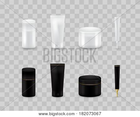 Blank cosmetic package collection set isolated on transparent checkered. Realistic cosmetic bottle mock up set. Shampoo and cream pack. Black and white color