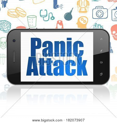 Health concept: Smartphone with  blue text Panic Attack on display,  Hand Drawn Medicine Icons background, 3D rendering