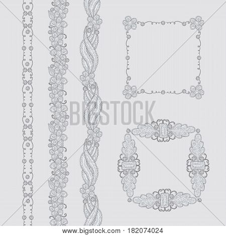 Vector set of sketch leaf flower frames and borders. Ornate vegetable seamless ornament for design invitations or greeting cards