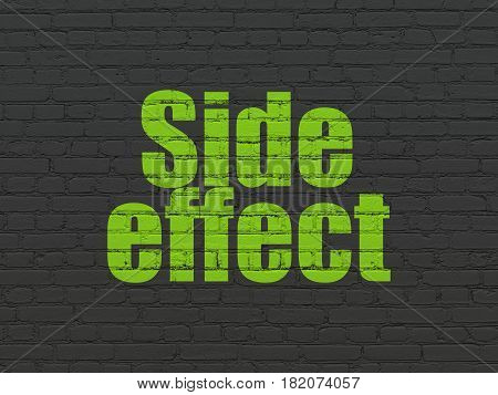 Health concept: Painted green text Side Effect on Black Brick wall background